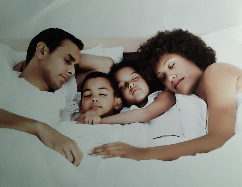Family in Bed Talalay Latex
