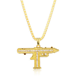 Iced out Gold, Silver Uzi Necklace Chain