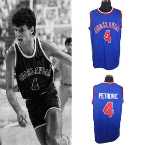 Blue Drazen Petrovic #4 Yugoslavia Croatia Vintage Throwback Basketball Jersey