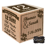 Glitzby Anniversary Block - Engraved Wood Block Present for Her, for Him - with Optional Picture Holder Frame for Marriage Couple Wedding