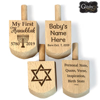 Babys First Dreidel Gift or Any Age - 1st Hanukkah Chanukkah Jewish Toy Game Wood Hebrew Dreidels