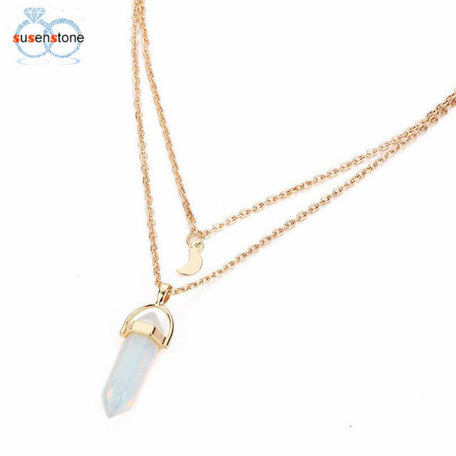 SUSENSTONE Women Multilayer Irregular Crystal Opals Pendant Necklace Choker Chain