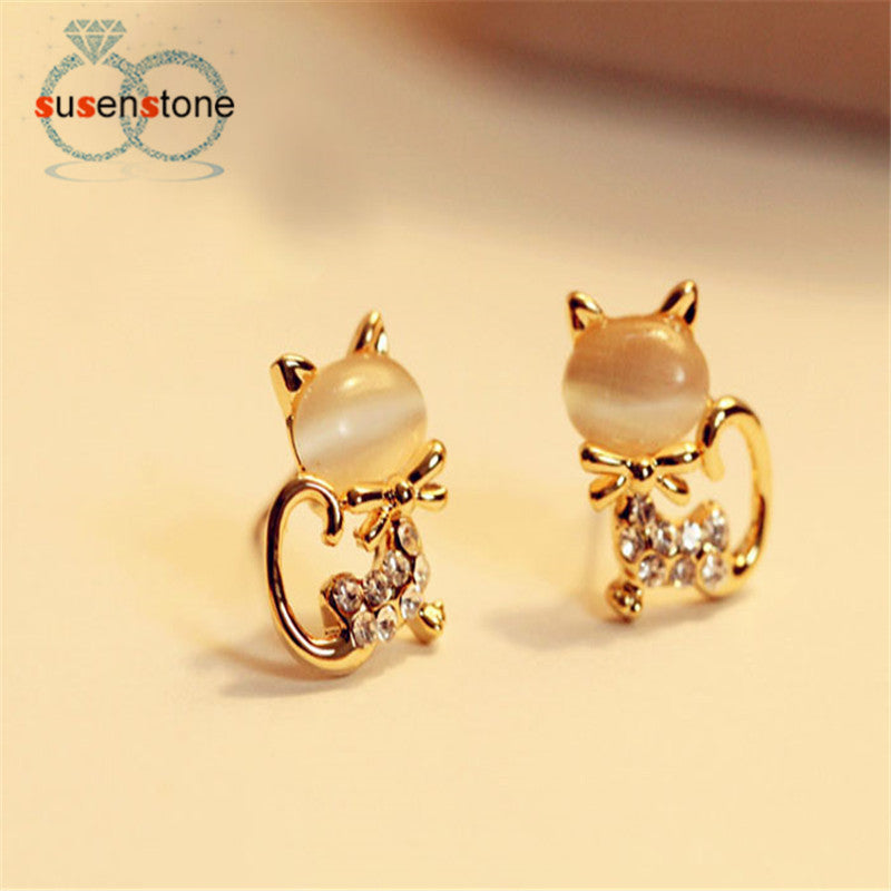 SUSENSTONE 2016 New Fashion Korean Fashion Cute Cat Stone Crystal Rhinestone Women Stud Earrings Stud Earrings Fashion Jewelry