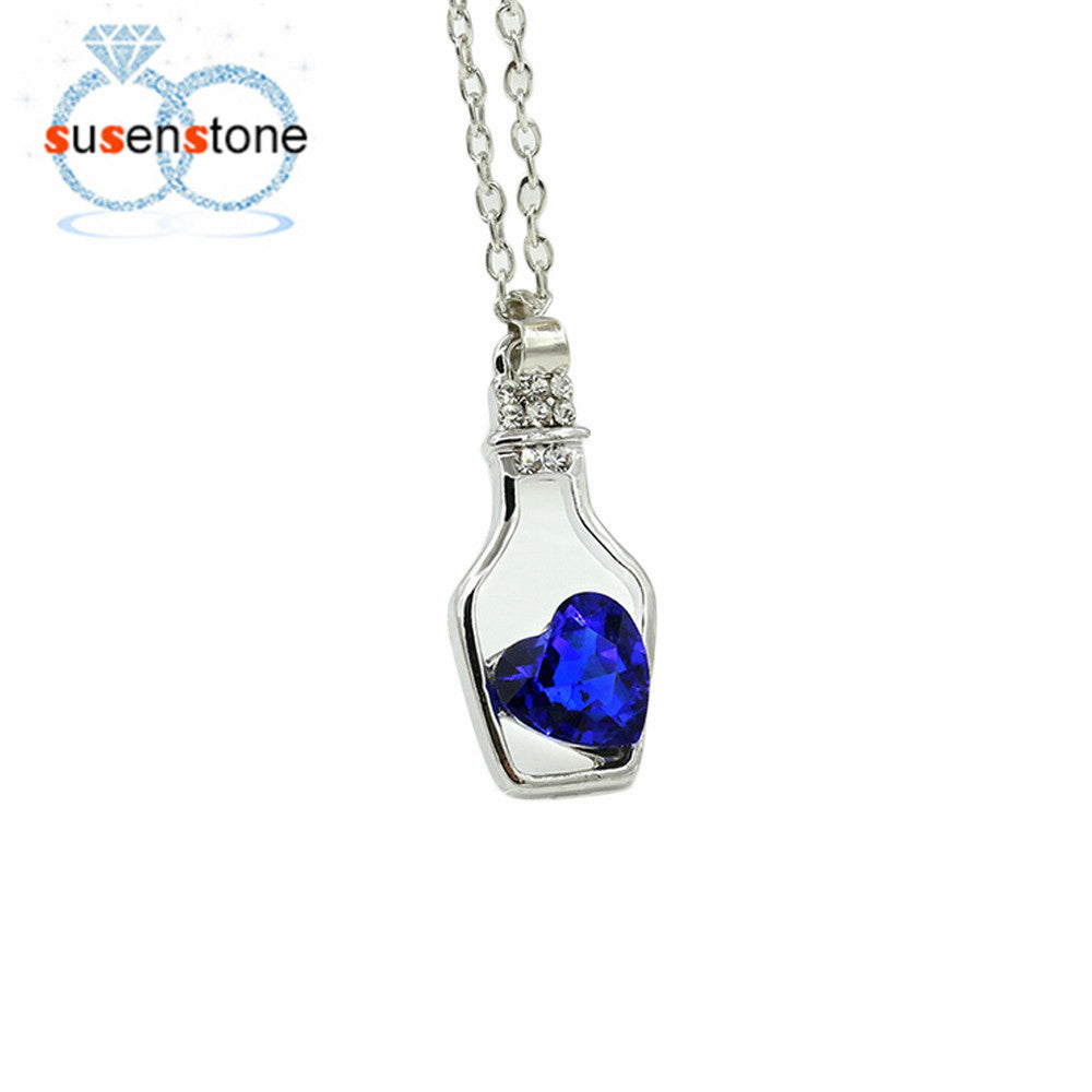 Creative Women Fashion Popular Style Necklace Ladies Love Drift Bottles Blue Heart Crystal Pendant Collares Mujer for girl