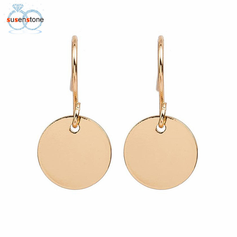 SUSENSTONE Eg matt disc women punk disco nightclub exaggerated metal earring