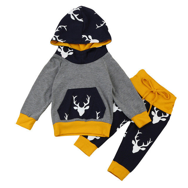 2017 Autumn&Winter Baby Boys Girls Clothes Set Warm Outfits Deer Tops Hoodie Top + Pants Leggings Cute Animals Kids Baby Clothes