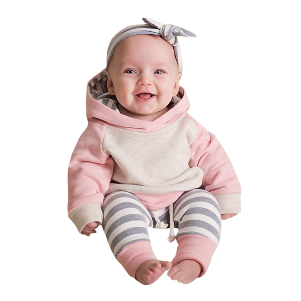 3pcs Toddler Baby Boy Girl Clothes Set Hoodie Tops+Pants+Headband Outfits