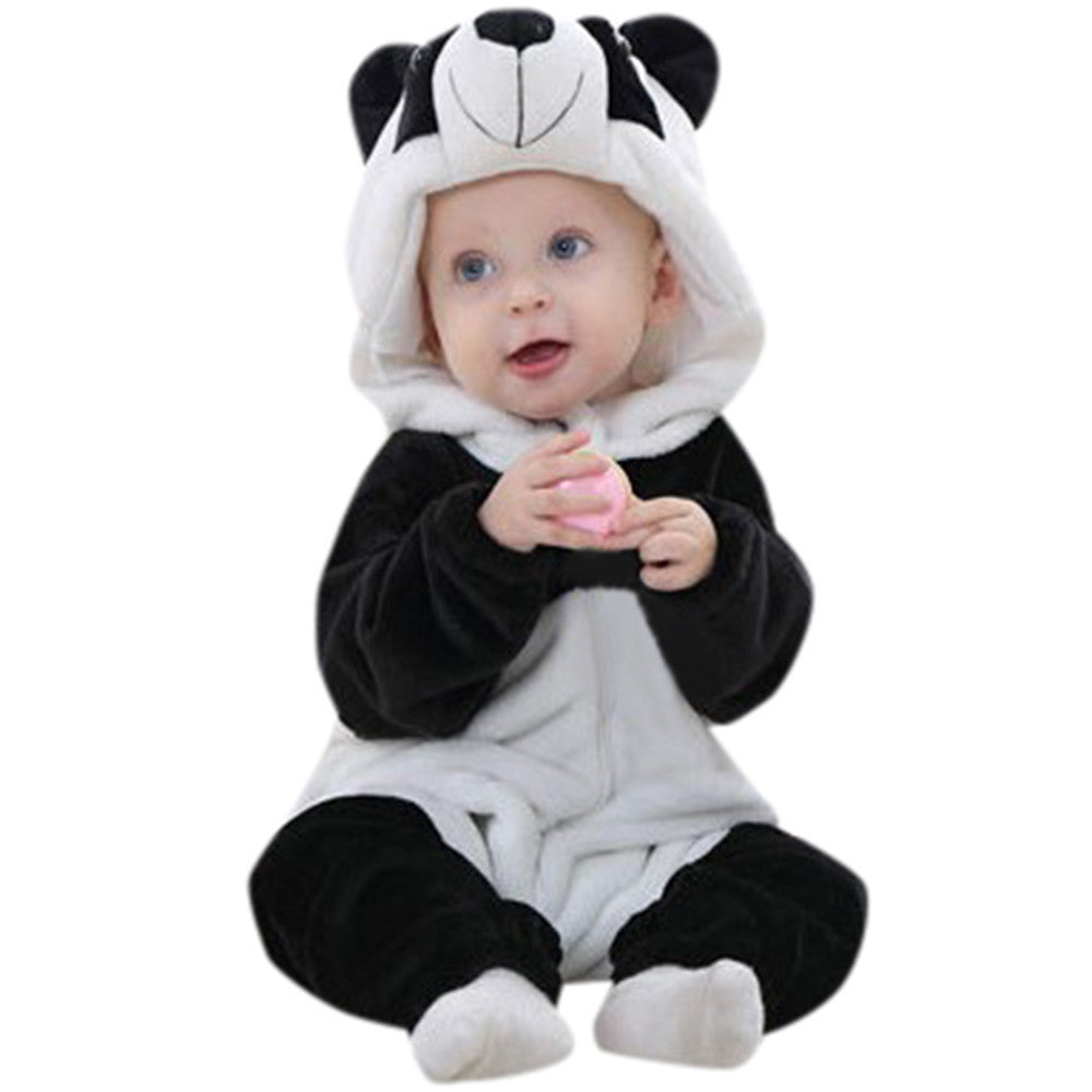 Toddler Newborn Baby Boys Girls Panda Cartoon Hooded Rompers Outfits Clothes