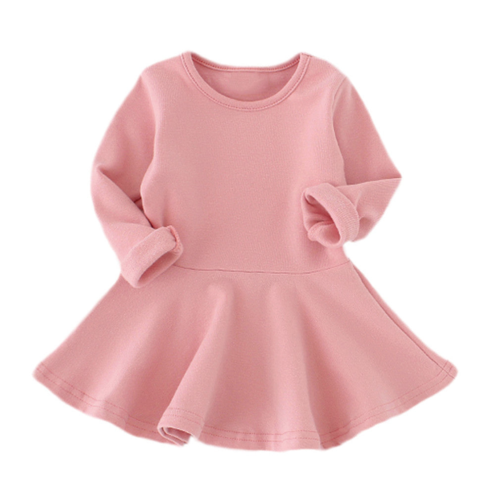 Baby Girls Candy Color Long Sleeve Solid Princess Casual Toddler Kids Dress