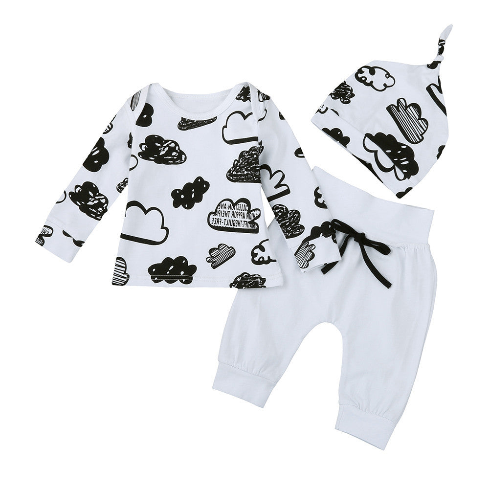 Newborn Infant Baby Girl Boy Cloud Print T Shirt Tops+Pants Outfits Clothes Set