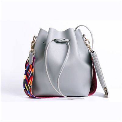 DAUNAVIA Women bag with Colorful Strap Bucket Bag Women PU Leather Shoulder Bags Brand Designer Ladies Crossbody messenger Bags