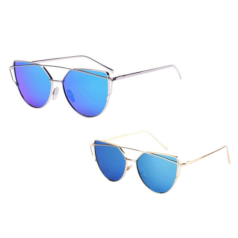 Fashion Twin-Beams Classic Women Metal Frame Mirror Sunglasses Cat Eye Glasses