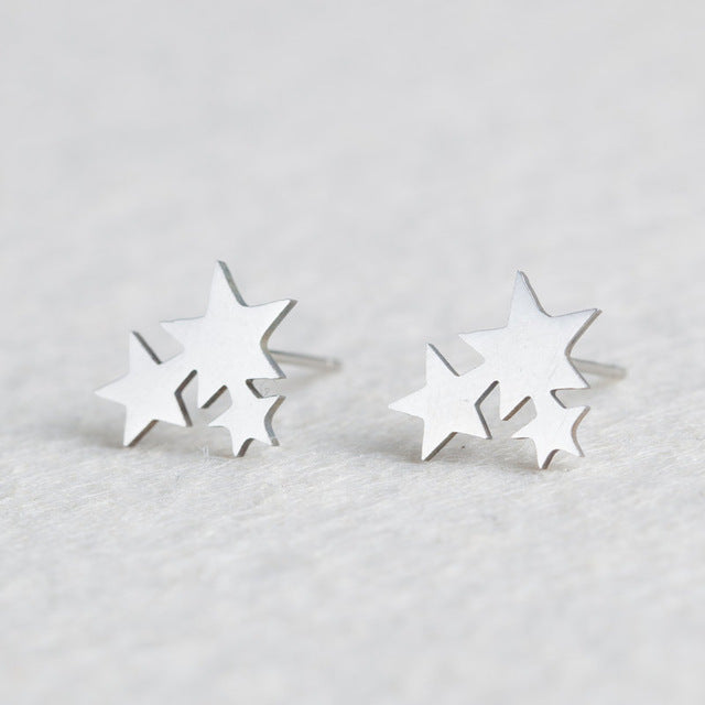 Silver Stainless Steel Animal Heart Leaf Cat Flower Star Stud Earrings for Women Girls Minimalist Jewelry Accessories Gifts