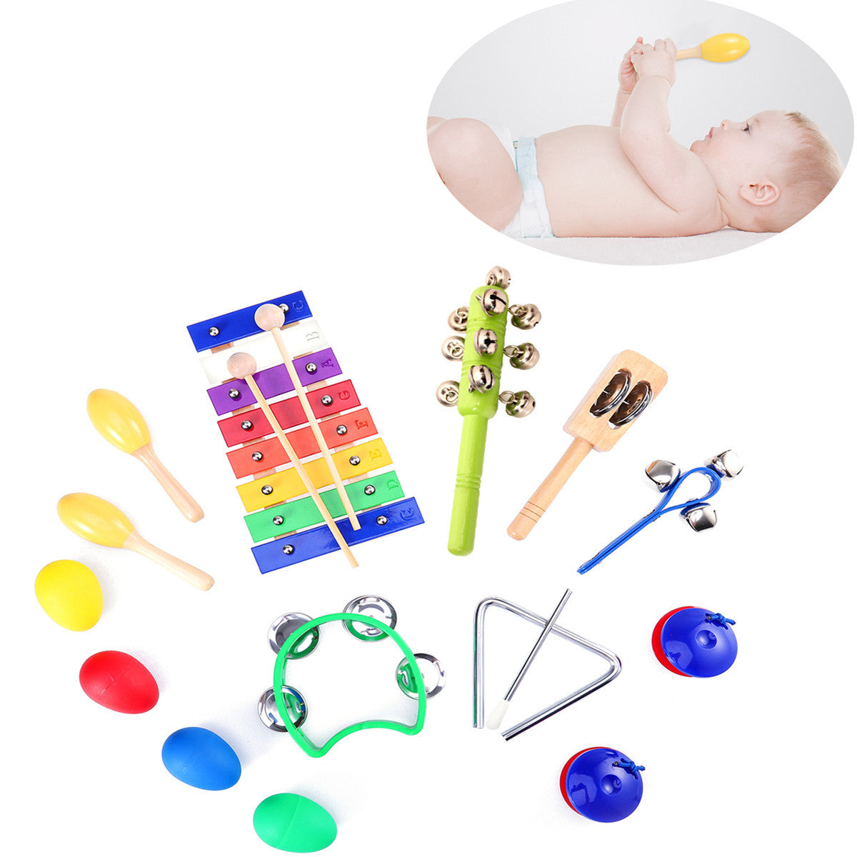 TOYMYTOY 15pcs Kids Musical Instruments Percussion Toy Rhythm Band Set Preschool Educational Tools with Carrying Bag