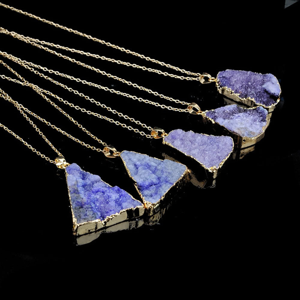 Natural Stone Crystal Pendant Necklace Clavicle Chain Sweater Chain for Men Women Jewelry Accessory