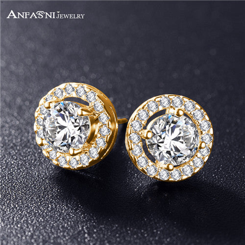 ANFASNI Hot Sale Romantic Jewelry Stud Earrings For Wedding Elegant Silver Color AAA Cubic Zirconia Stone Earring Dropshiping