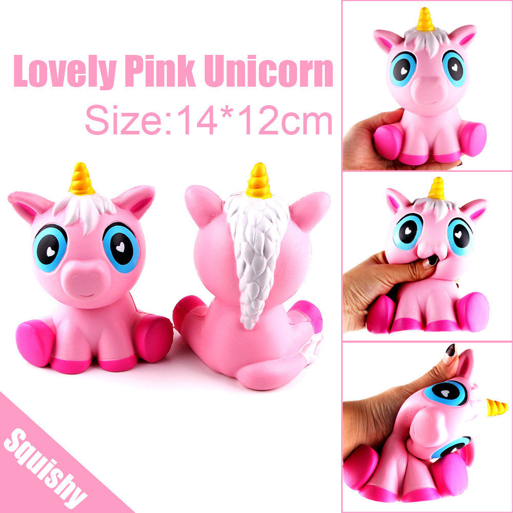 14cm Lovely Pink Unicorn Cream Scented Squishy Slow Rising Squeeze Toys  Charm