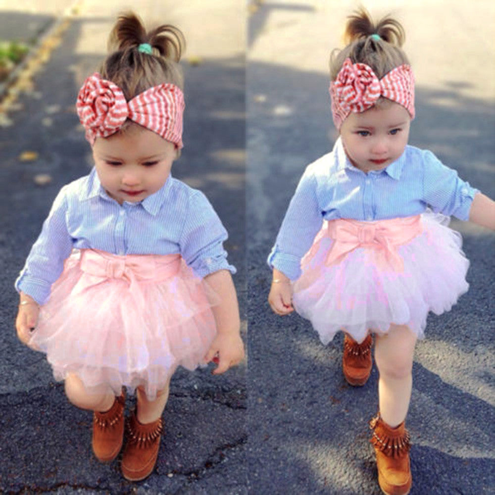 2Pcs Toddler Baby Girls Bow Striped Tops+Tutu Skirt Set Infant Outfits Clothes