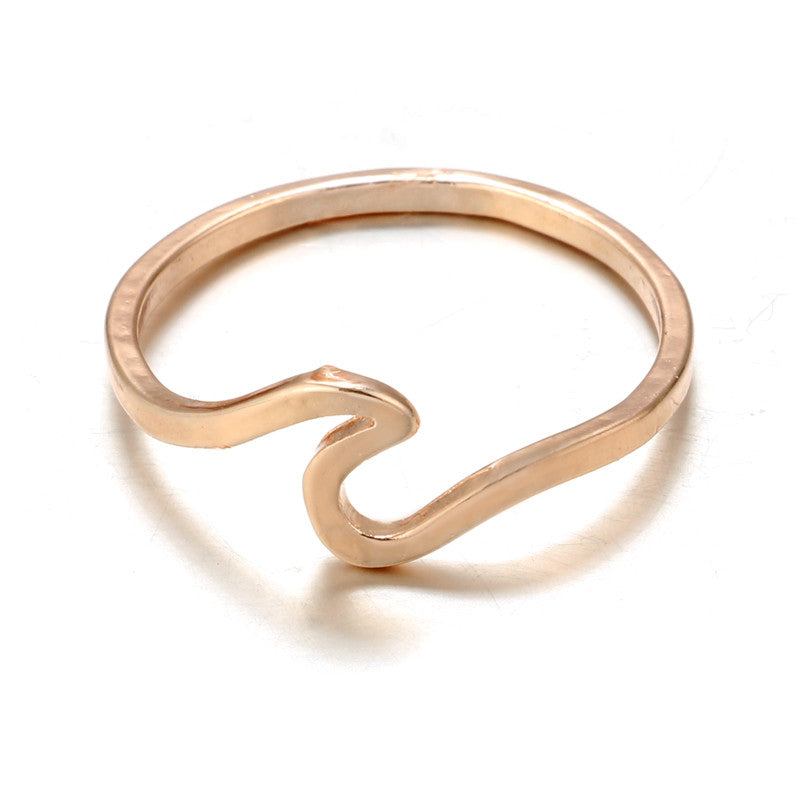Simple Metal Surfer Midi Ring Knuckle Surf Rings Ocean Wire Ring
