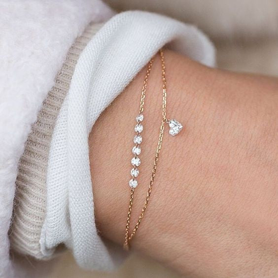 Women's Fashion Double Layer Heart Crystal Bracelet