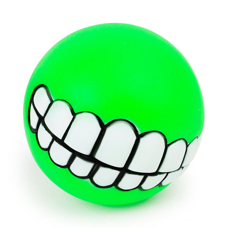 Pet Dog Ball Teeth Silicon Toy Chew Squeaker Sound