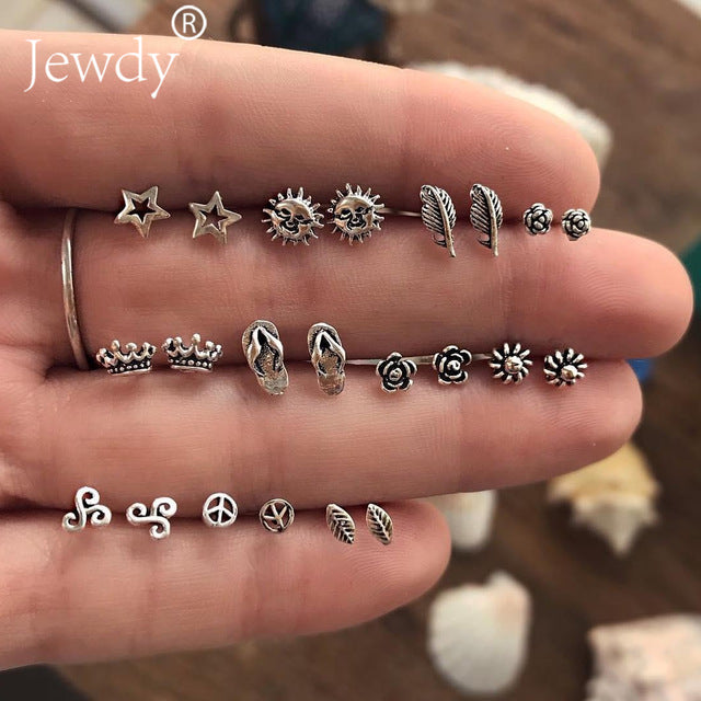 4 Pairs/Set Women Crystal Bohemian Earring Stud Earrings for Women Boucle D'oreille Jewelry Dazzling Cubic Zirconia Opal Brincos