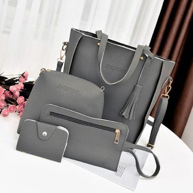 Women Top-Handle Bags Female Composite Bags 2018 Women Messenger Bags Handbag Set PU Leather Wallets Key Bag Set