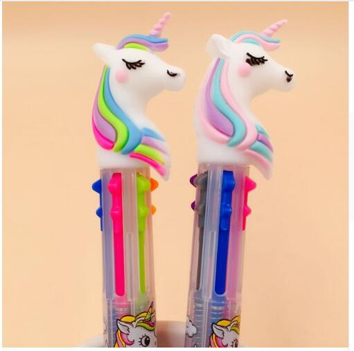 2 pcs/lot Unicorn Cartoon 3 Colors  6 Color Chunky Ballpoint Pen School Office Supply Gift Stationery Papelaria Escolar