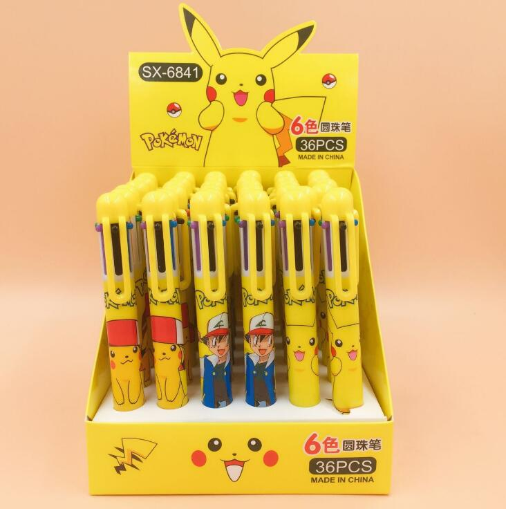 Fantastic Pikachu Cartoon 6 Colors Chunky Ballpoint Pen School Office Supply Gift Stationery Papelaria Escolar