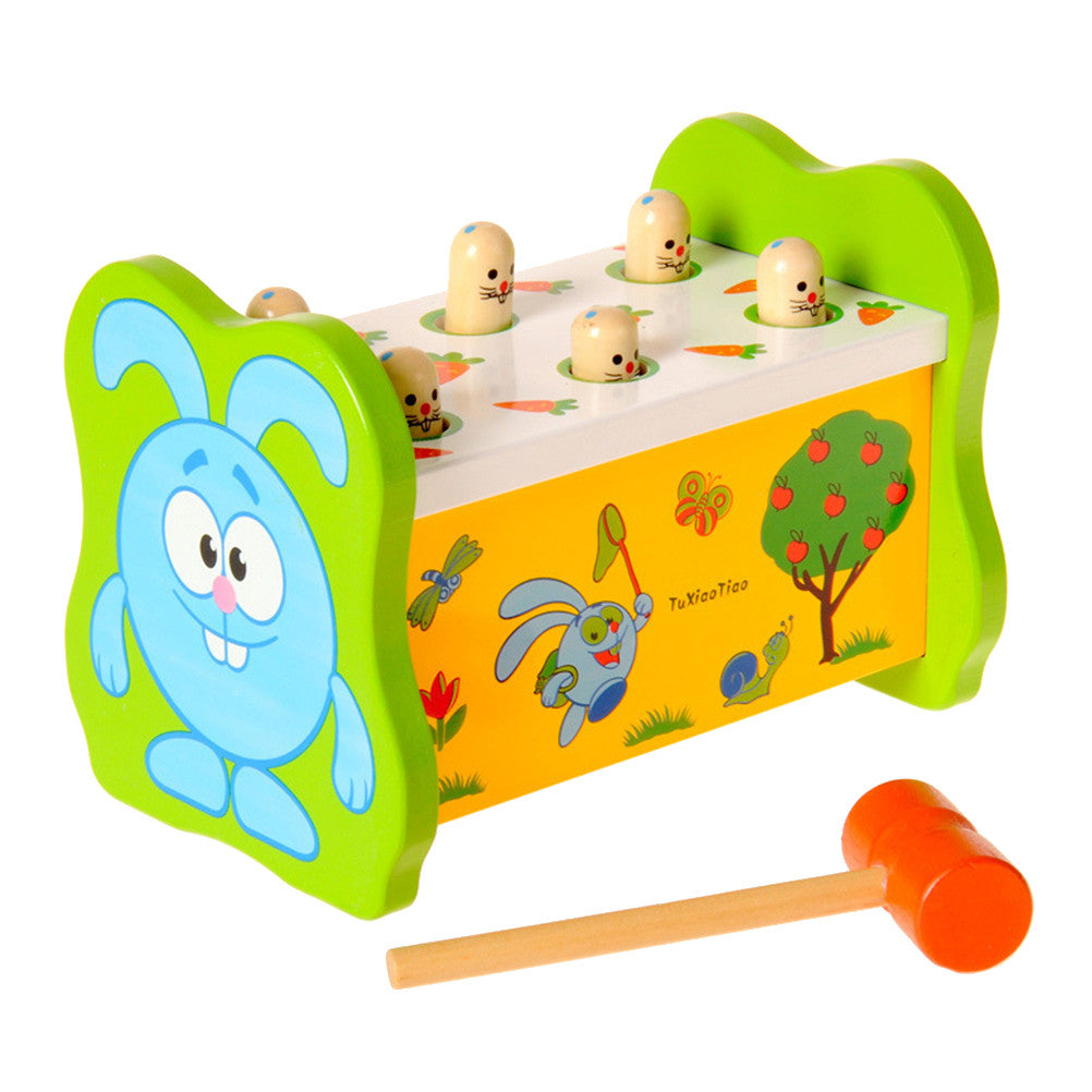 Kids Rabbit Poke A Mole Playing Toy Ground Mouse Parent-child Interactive Game Wooden Percussion Intellectual Toy
