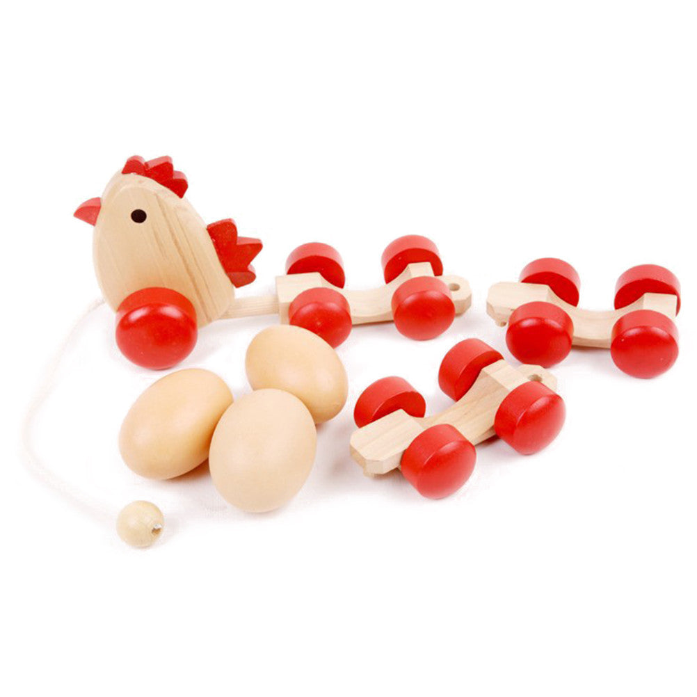 Creative Funny Educational Toy Wooden DIY Toy Hen Drag Eggs Toys Push Pull Toys Perfect Birthday Gift for Baby Kids