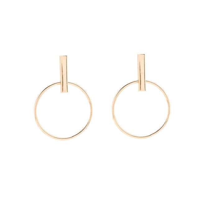 H:HYDE New 2017 Fashion Jewelry Punk Style Gold & Sliver Colors Geometric Round Circle Stud Earrings Best Gift for Women Girl