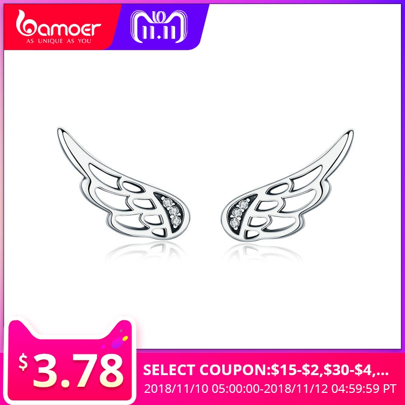 BAMOER Hot Sale Genuine 925 Sterling Silver Statement Feather Fairy Wings Stud Earrings for Women Fashion Silver Jewelry SCE343