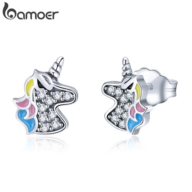 BAMOER 100% 925 Sterling Silver Fashion Licorne Memory Clear CZ Stud Earrings For Women Sterling Silver Jewelry Gift SCE426