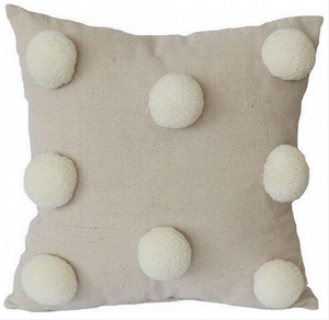 Pom Pom Cushion - Neutral 32x32