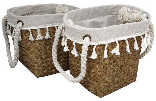 Woven Lined baskets – set of 2