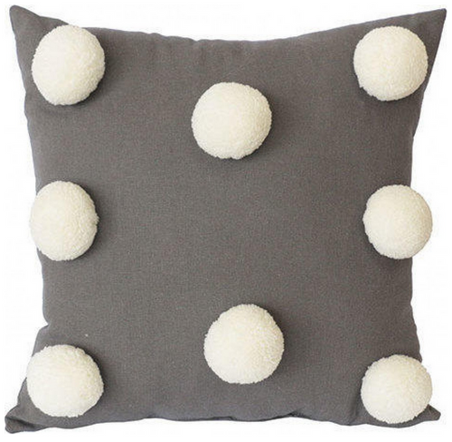Pom Pom Cushion - Grey 32x32
