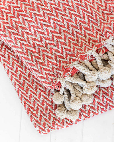 Cotton Throw - Natural/Red