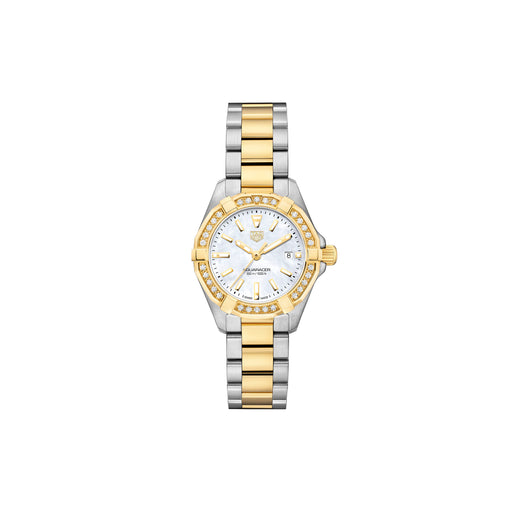 TAG HEUER AQUARACER 300M DIAMOND LADIES STEEL & YELLOW GOLD PLATED WATCH 27MM - WBD1421.BB0321