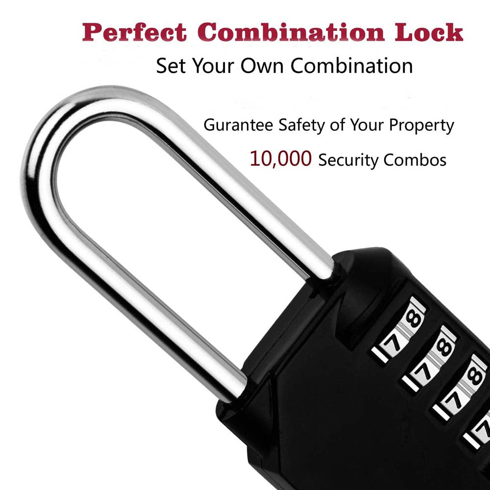 4 Digit Long Shackle Combination Padlock Waterproof Re-settable Combo Lock  for Gym, Sports, School & Employee Locker, Outdoor, Fence, Hasp and Storage