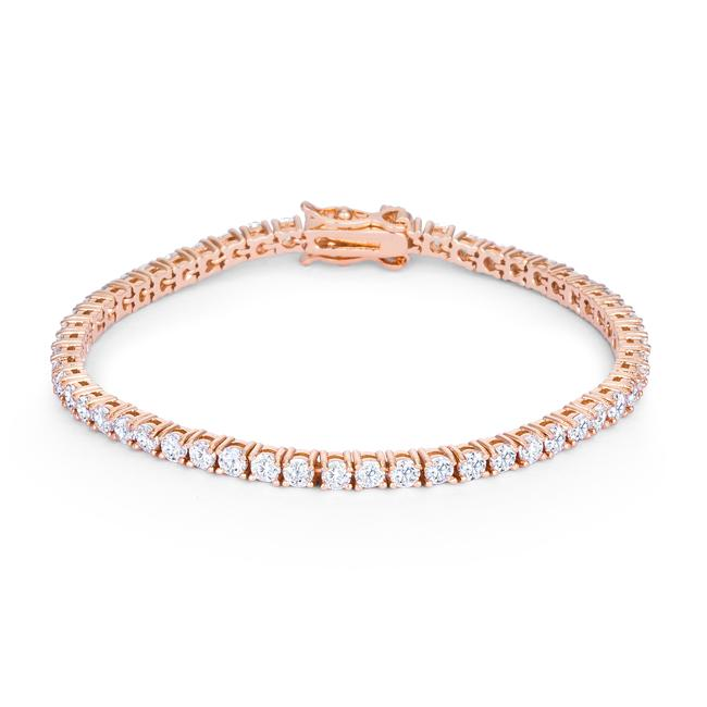 5.75ct Rose Goldtone Cubic Zirconia Tennis Bracelet - Jewelry Xoxo