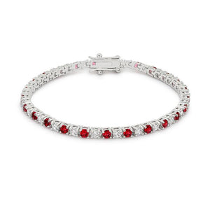 Ruby Red Cubic Zirconia Tennis Bracelet - Jewelry Xoxo