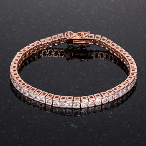 9.7Ct Princess Cut 7in CZ Rose Gold Bracelet - Jewelry Xoxo