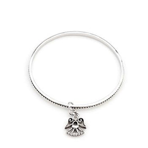 Solitaire Angel Charm Bangle - Jewelry Xoxo