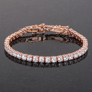 17.6 Ct Rosegold Tennis Bracelet with Shimmering Round CZ - Jewelry Xoxo