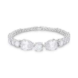 Elegant Pear and Round Cubic Zirconia Tennis Bracelet - Jewelry Xoxo