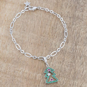 Christmas Tree 0.35ct CZ Rhodium Holiday Charm Bracelet - Jewelry Xoxo