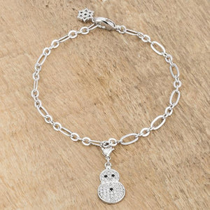 Snowman 0.2ct CZ Rhodium Holiday Charm Bracelet - Jewelry Xoxo