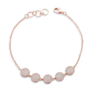 0.8ct CZ Rose Goldtone Pave Disc Bracelet - Jewelry Xoxo