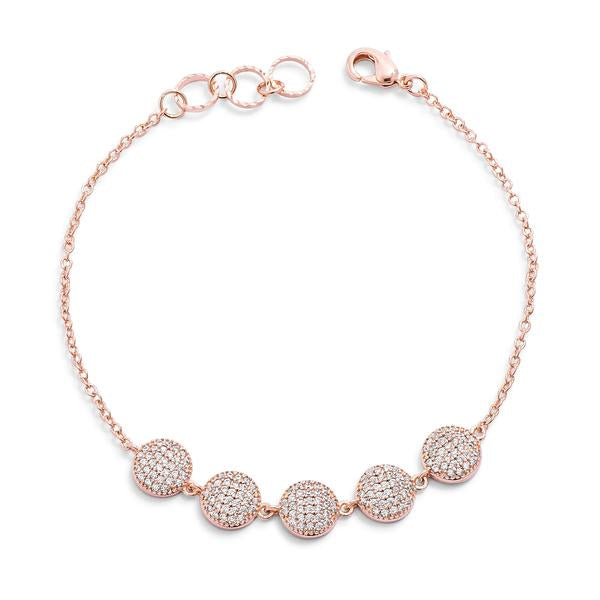 0.8ct CZ Rose Goldtone Pave Disc Bracelet